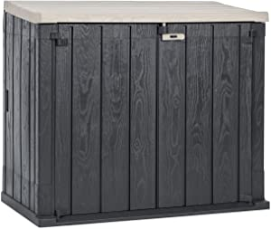 Toomax Stora Way All-Weather Resin Outdoor Horizontal Storage Shed Cabinet for Trash Cans and Yard Tools, 30 cu ft