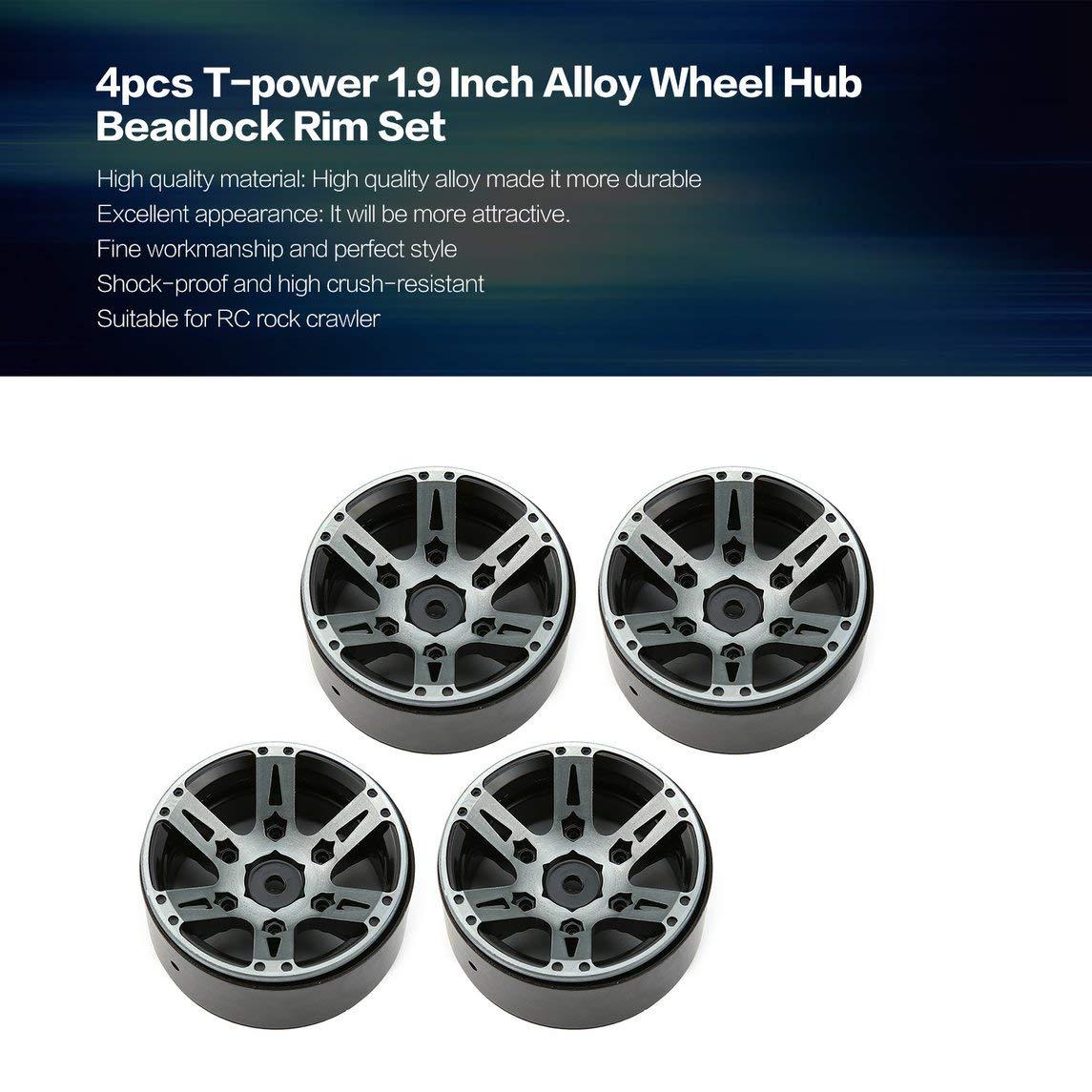 Footprintse Ruedas para Coches RC;Ruedas para RC 4pcs T-Power 1.9 Pulgadas de aleación del Eje de Rueda Beadlock Rim Set para 1/10 RC Crawler Color del ...