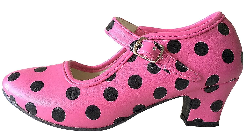 La Señorita Zapato Flamenco baile Sevillanas niña rosa negro (Talla 28 - 18 cm, rosa negro) La Senorita