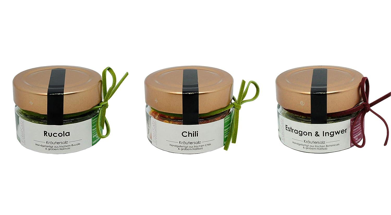 EdelSalz AromaSet Medium 3 x 50g Halitsalz Gewürze handgefertigt in Deutschland … (Rucola | Chili | Estragon & Ingwer)
