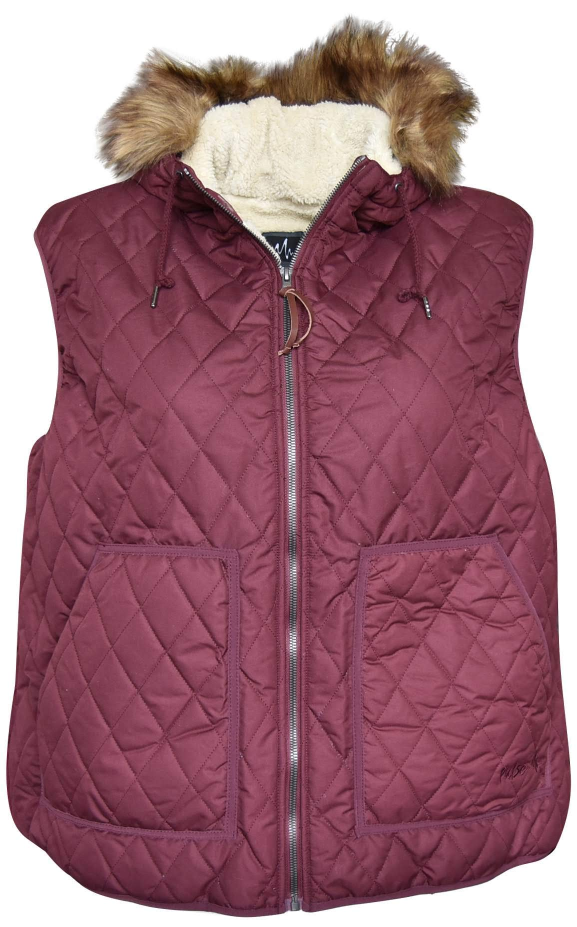 Pulse Womens Plus Extended Size Bleeker Insulated Sherpa Vest (5X (30/32), Wine) by Pulse