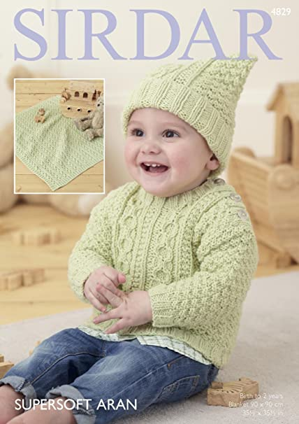 Sirdar Baby Blanket Hat Mittens /& Booties Baby Crofter Knitting Pattern...
