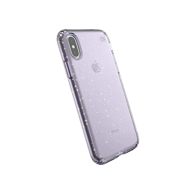 new style e5a4f 1bf46 Speck Products Compatible Phone Case for Apple iPhone Xs/iPhone X, Presidio  Clear + Glitter Case, Geode Purple with Gold Glitter/Geode Purple