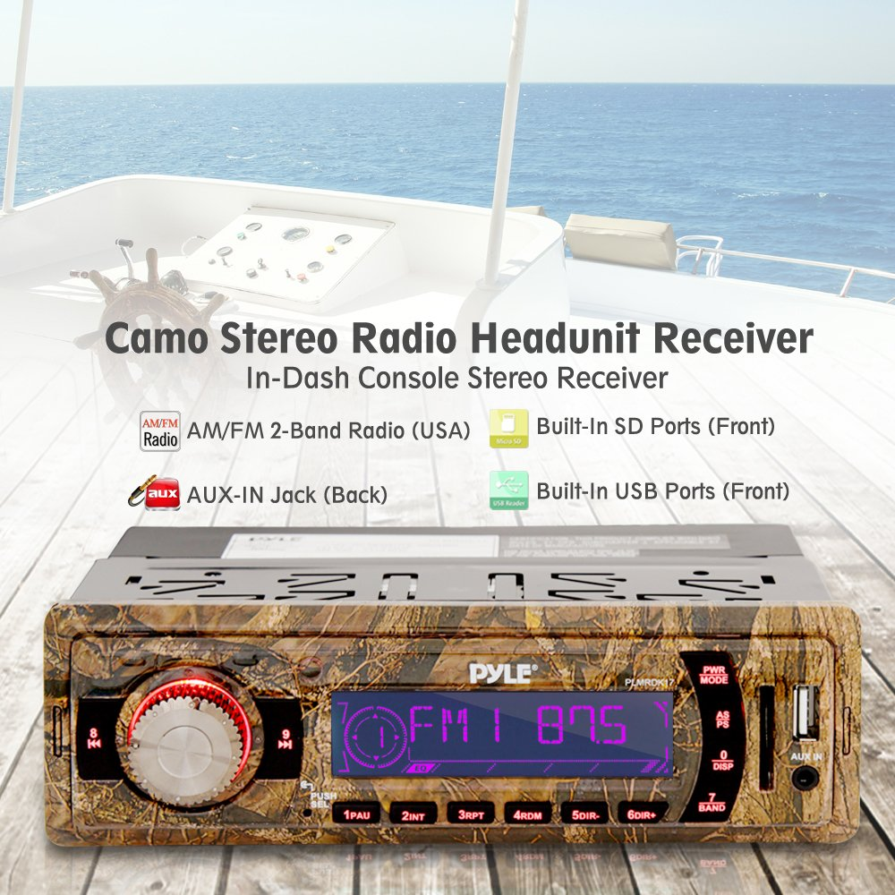 Camo Stereo Marine Headunit Receiver Includes Power /& Wiring Harness 12v Camo Style Single DIN Digital Boat in Dash Radio System with Aux Input Pyle PLMRDK17 Sound Around USB Flash SD Card Readers MP3
