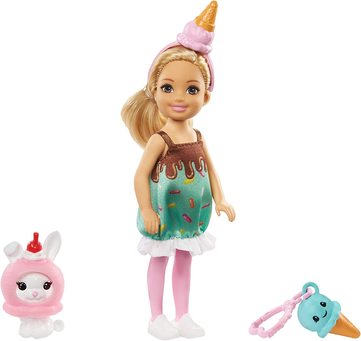 Barbie Club Chelsea Dress-Up Doll, 6-inch Blonde in Ice Cream Costume with Pet Bunny and Accessories, Gift for 3 to 7 Year Olds