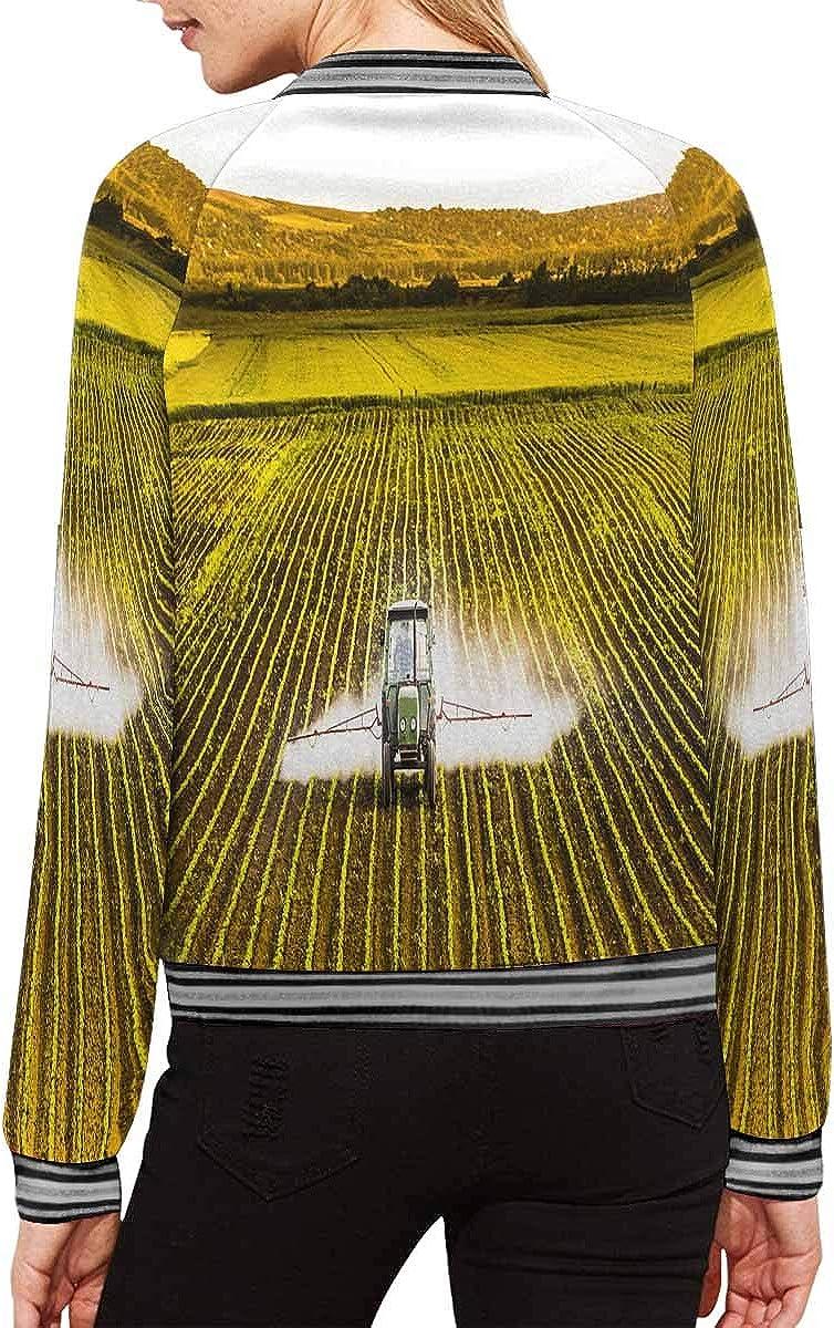 INTERESTPRINT Womens Tractor Spraying a Field of Corn Zipper Bomber Jacket