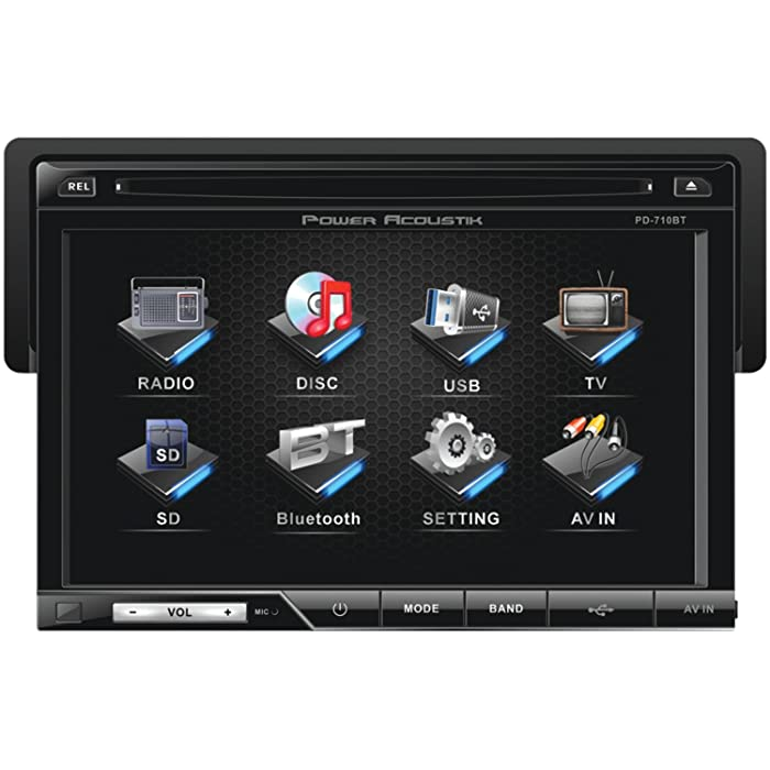 Power Acoustik PD-710B Single-DIN Multimedia Source with Detachable 7-Inch Oversize LCD Touchscreen including Bluetooth 2.0