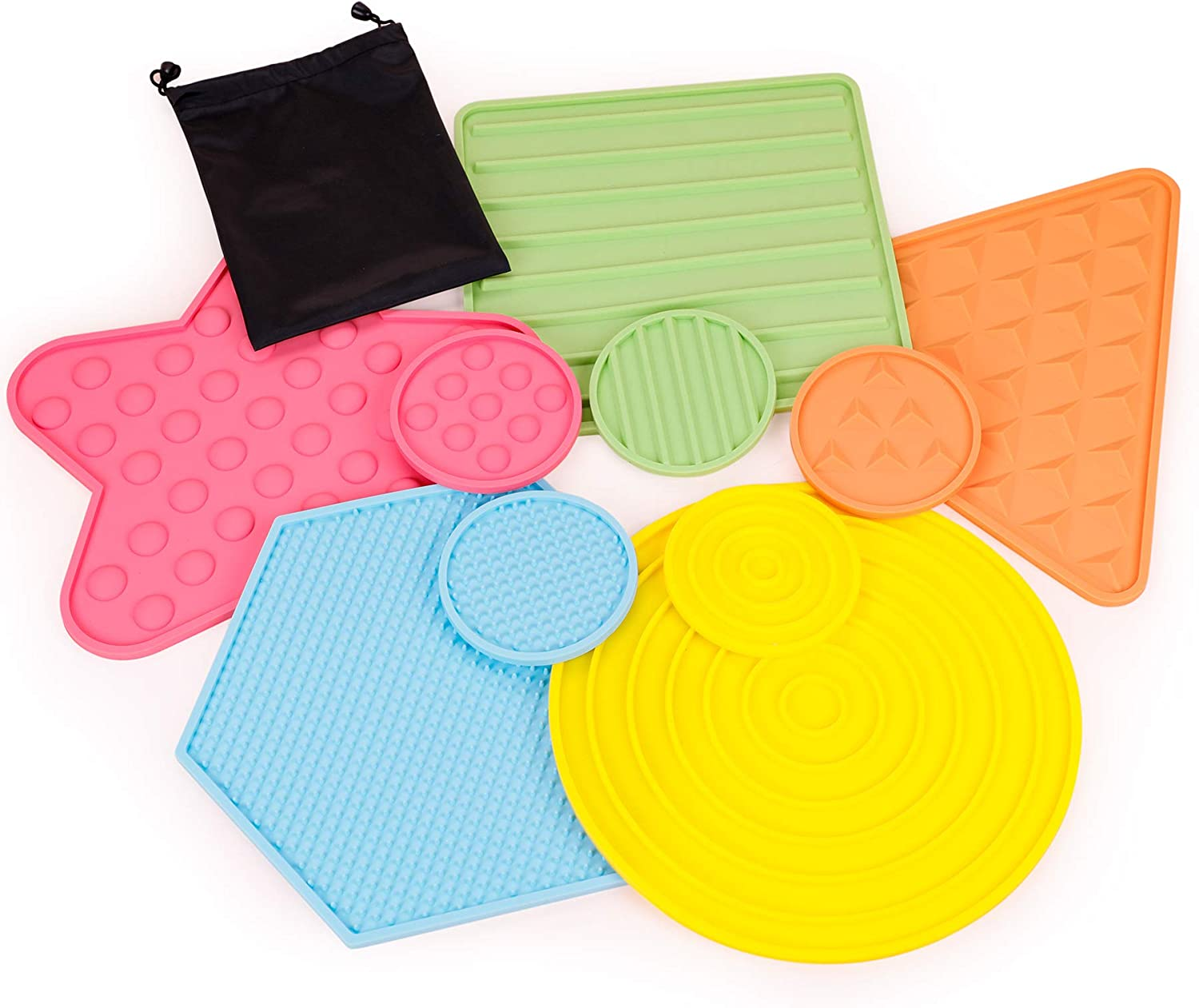 EDUSENSE Sensory Silicon Texture mats- in Home Learning Toy for Calming Sensory Play - Set of 10 - Assists Autistic Toddlers & Children