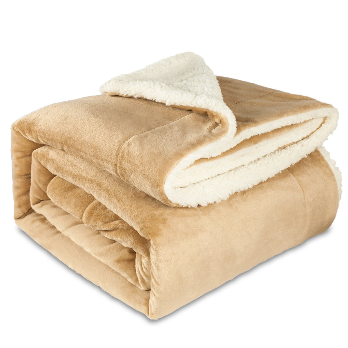 Maicico Sherpa Flannel Soft Reversible Plush Throw Blanket Warm Lightweight Blanket for Bed, Couch/Sofa (Camel, 60''×80'')