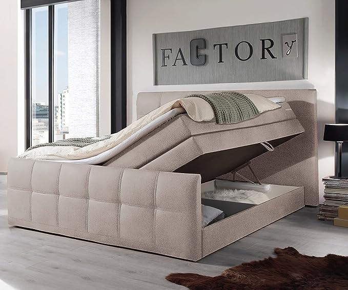 Cama Sebastiano Beige 180 x 200 - Colchón (Núcleo de muelles Topper cama cama de buzón con somier: Amazon.es: Hogar