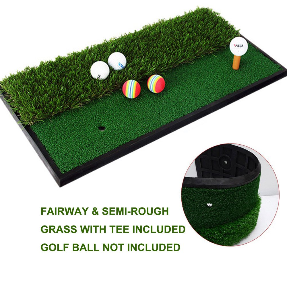 Foxcesd Golf Mat, Golf Hitting Mat with Realistic Fairway & Rough Portable Golf Practice/Training Turf Mat Mini Golf Green Grass Putting Mats for Indoor and Outdoor Golf Sports 12'' x 24'' by Foxcesd