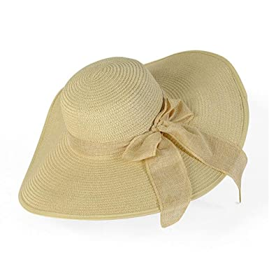 ea3b7ea9c63 Image Unavailable. Image not available for. Color  GAMT Big Bow Ribbon  Female Beach Hat Large Eaves Hats Straw Cap ...