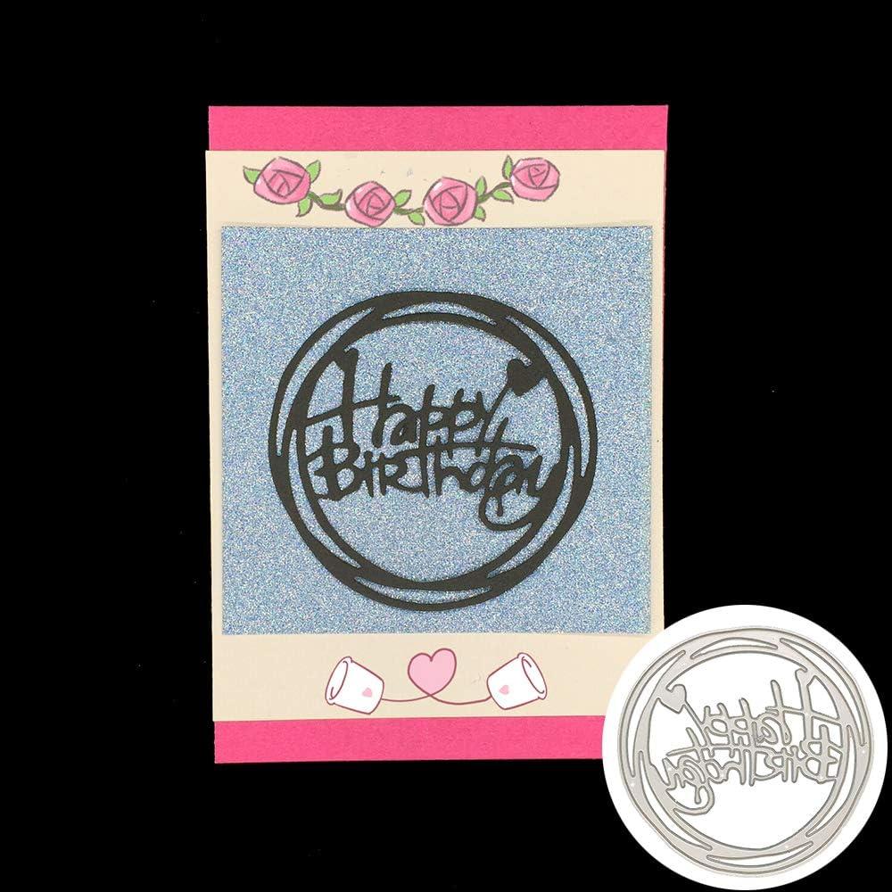 Numbers Happy Birthday Circle Heart Craft Cutter Die Metal Cutting Die Set DIY