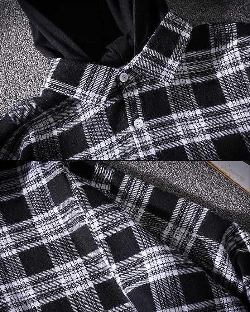 Hotmiss Mens Hooded Irregular Hem Hipster Hip Hop Button Up Plaid Shirt