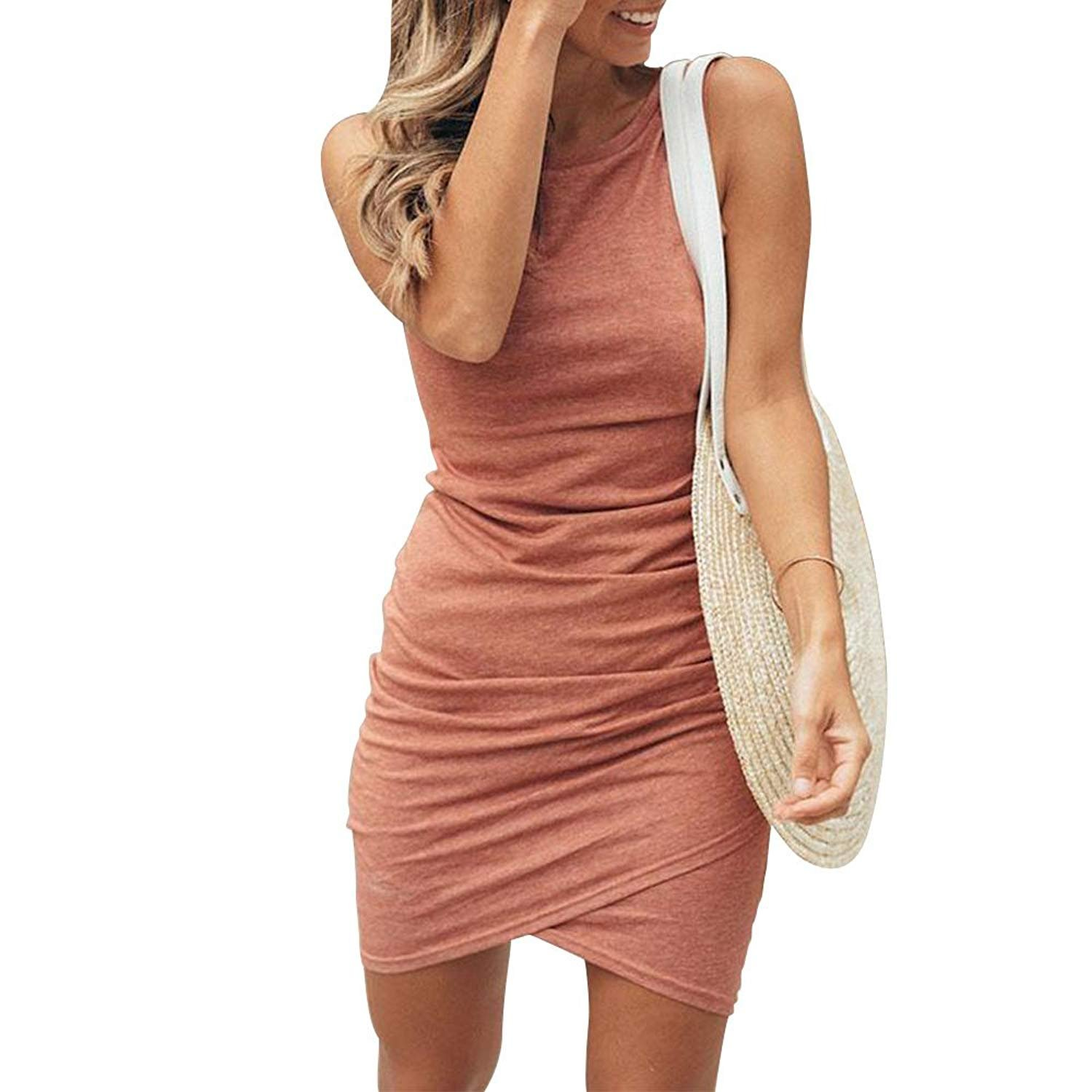 Summer Ruched Casual Bodycon Stretch Short Sleeve T Shirt Dresses for Women Pink1 S