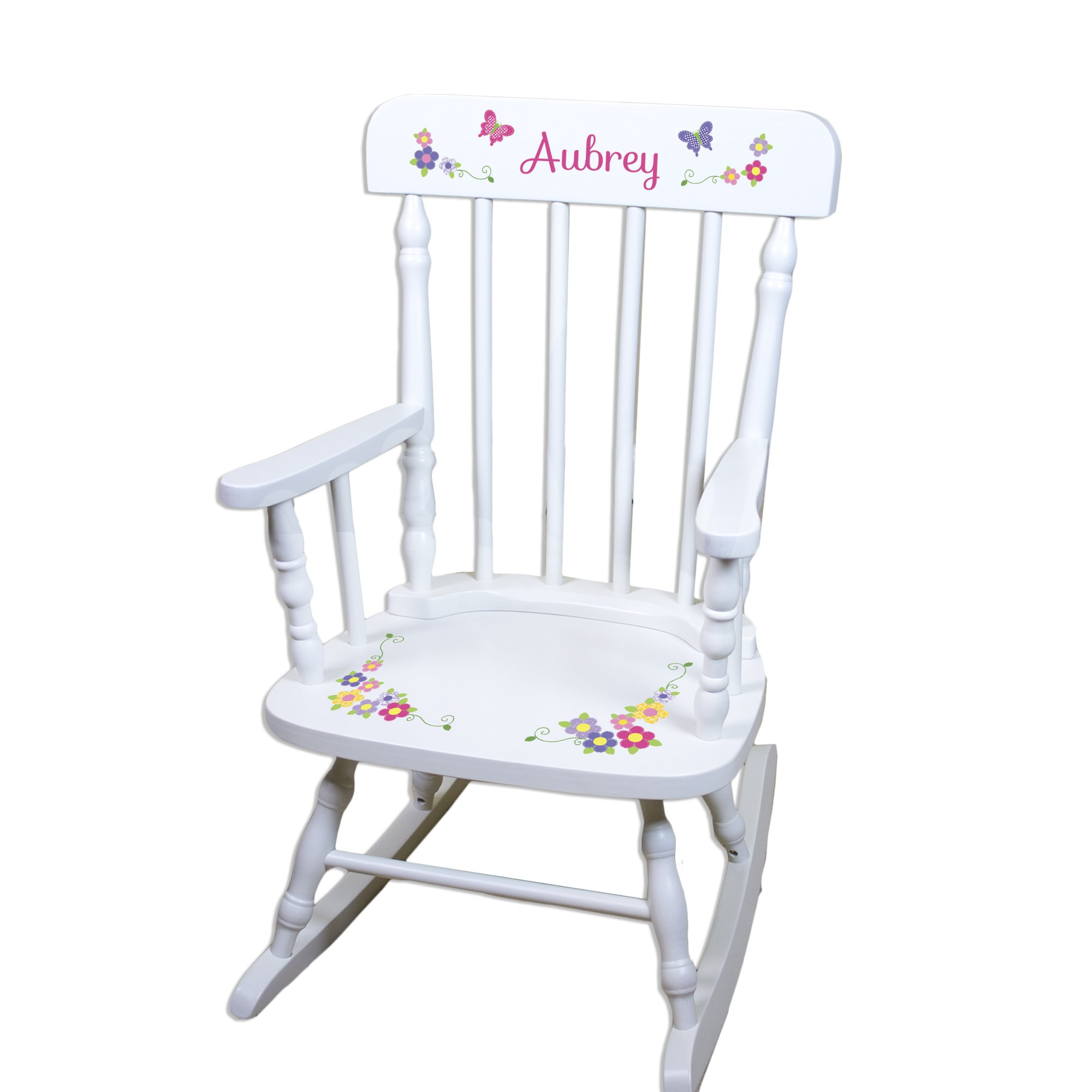 Children's Personalized White Bright Butterfly Rocking Chair by MyBambino