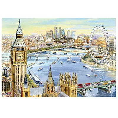 Jigsaw Puzzles 1000 Pieces for Adults Kids, London Painting Jigsaw Puzzle, Floor Puzzle Kids DIY Toys for Home Decor, Brain Teaser Puzzles Board Family Game: Toys & Games