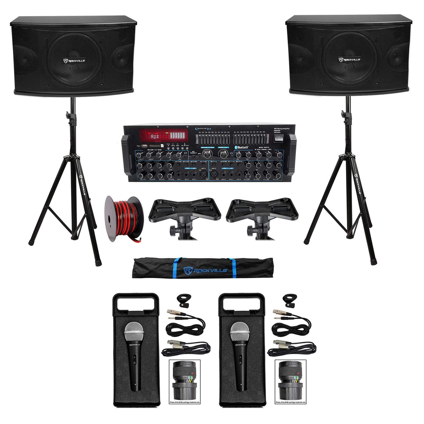 Rockville Karaoke Machine System w/Pair 10'' Speakers+Bluetooth Mixer Amp+Mics