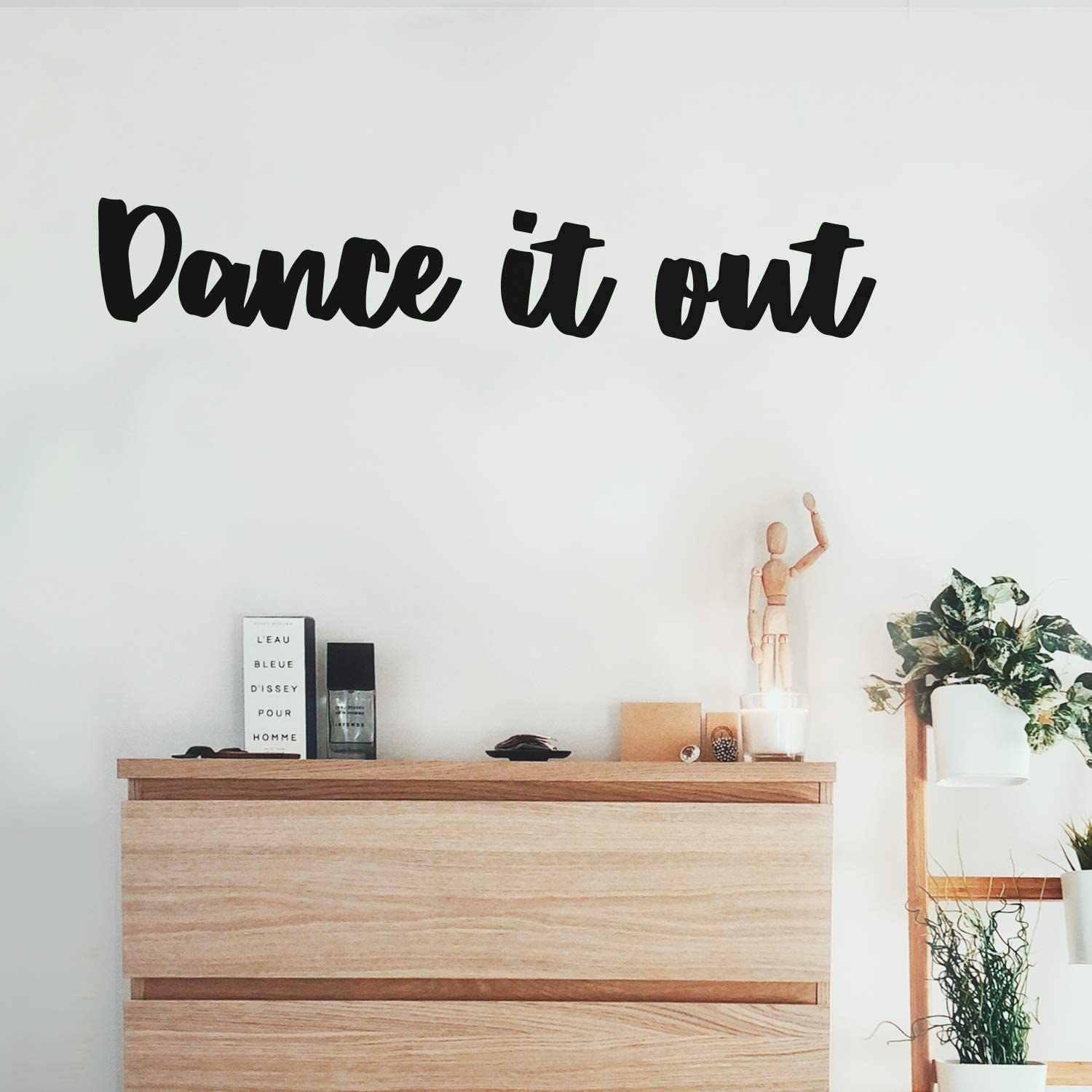 """Vinyl Wall Art Decal - Dance It Out - 6"""" x 35"""" - Trendy Inspirational Optimistic Good Vibes Cute Quote Sticker for Bedroom Closet Girls Room Playroom Yoga Gym Fitness Center Coffee Shop Decor (Black)"""