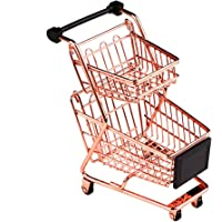wgg Mini Metal Shopping Cart Supermarket Handcart Trolley, Table Office Novelty Decoration, Creative Storage Tools (Rose…