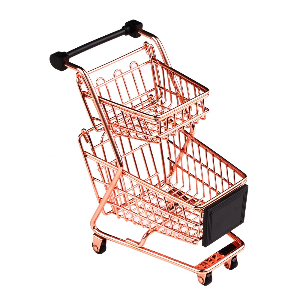 wgg Mini Metal Shopping Cart Supermarket Handcart Trolley, Table Office Novelty Decoration, Creative Storage Tools (Rose Gold, Double-Deck)