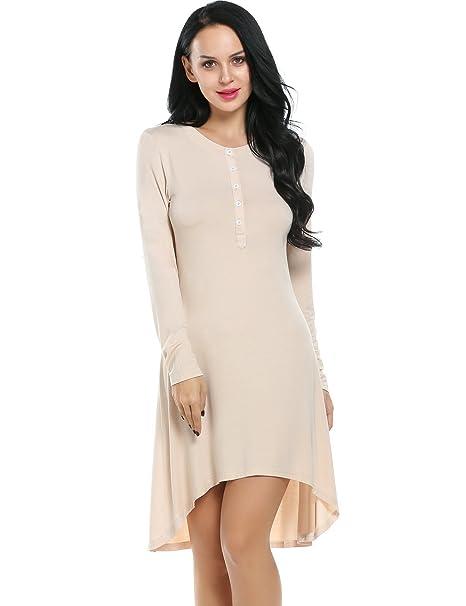 Ekouaer Womens Nightwear Soft Modal Long Sleeve Sleep Dress Christmas  Pajamas(Apricot d3fd825fd