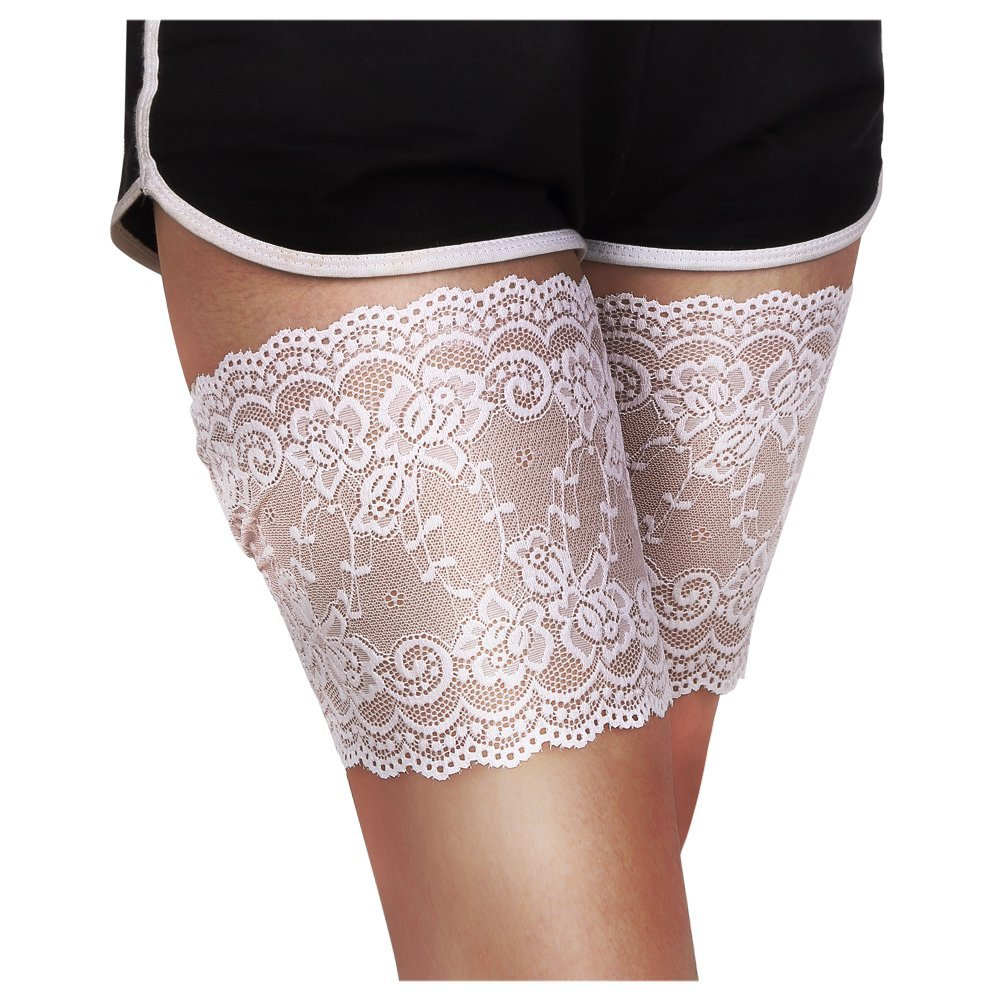 teemzone Anti-Chafing Lace Thigh Bands Shorts Accessory 2Pcs