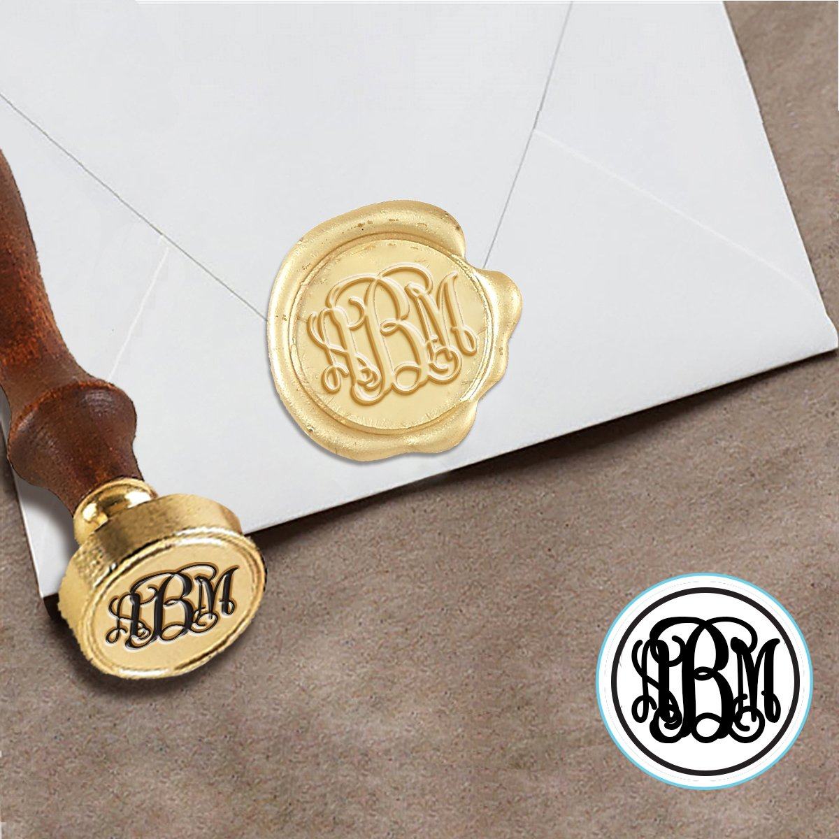 Custom Wax Seal Stamp Kit With Sealing 1 Die Tiffany Script Monogram 3 Letters