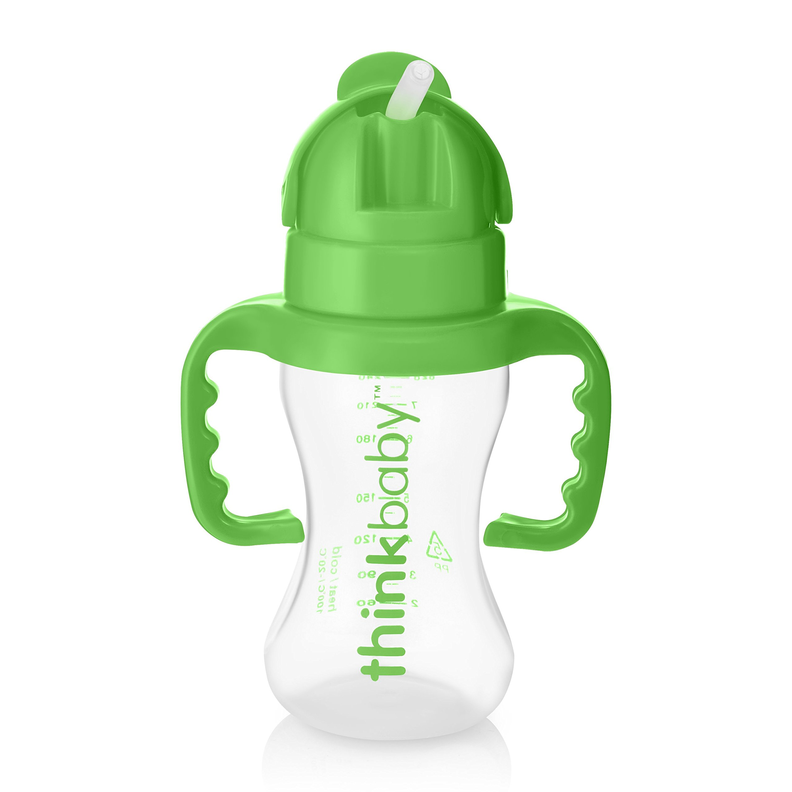 thinkbaby Thinkster Straw Bottle, Light Green/Green, 9 Ounce