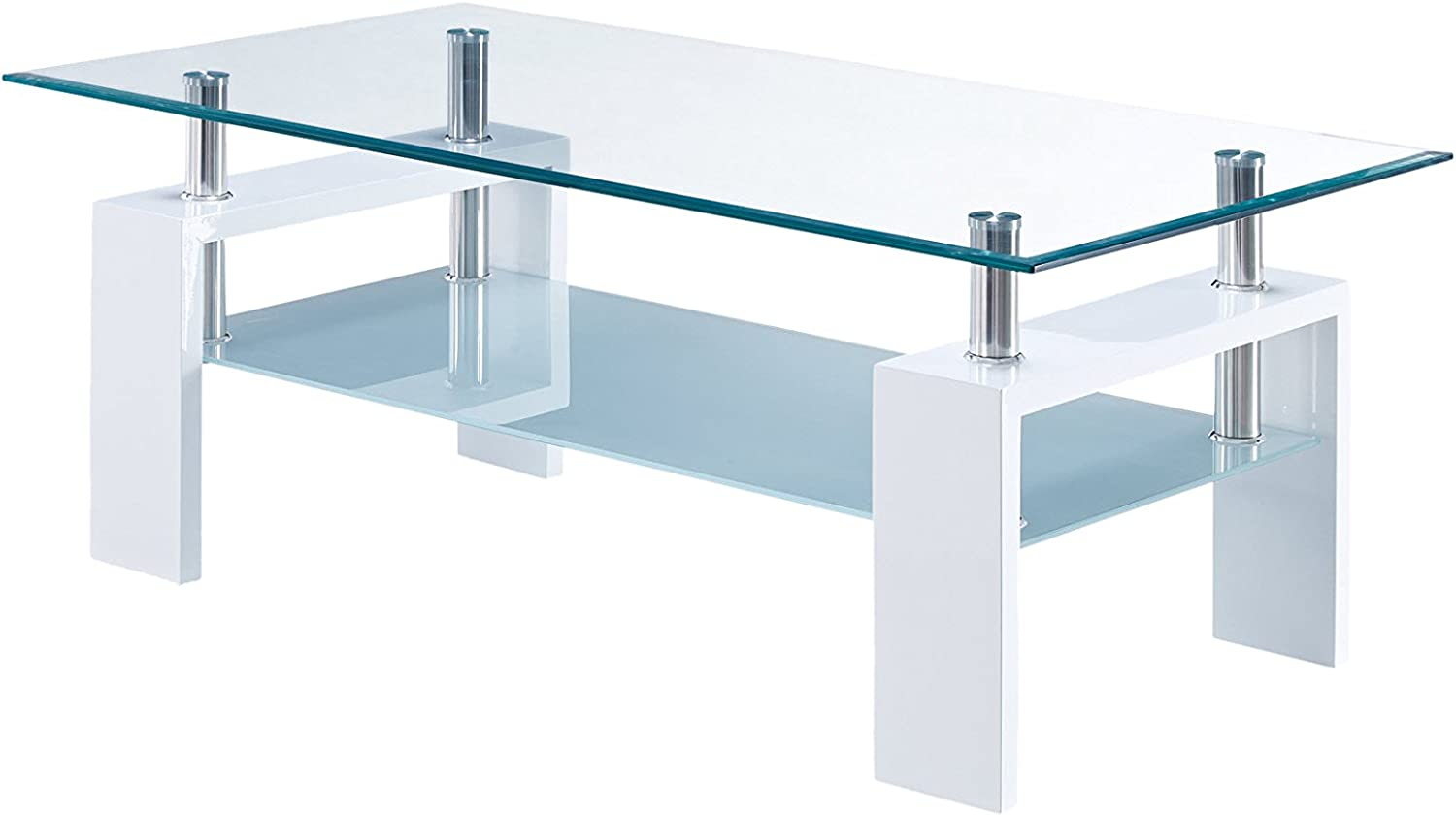 Global Furniture Clear/Frosted Occasional Coffee Table with Glossy White Legs