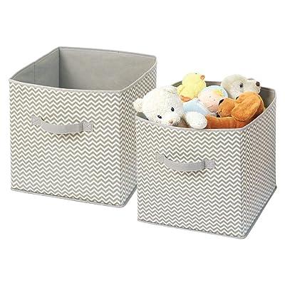 mDesign Organizador de Tela - 2 Cajas para organizar Juguetes- Ideal Caja de Tela para organizar Juguetes, Ropa o Mantas y Mantener la organización de su hogar - Color: Topo/Natural: Hogar