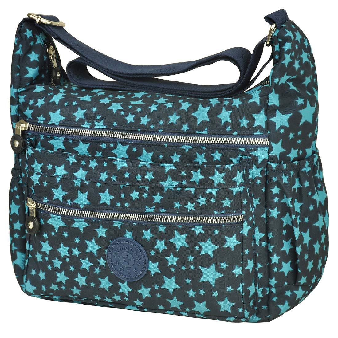 Multi Pocket Crossbody Bag Lightweight Travel Purse Volganik Rock Nylon Waterproof Shoulder Handbag (8016_Pattern#Star)