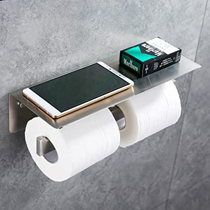 Double Toilet Paper Holder, APL SUS304 Stainless Steel Bathroom Paper  Tissue Holder With Mobile Phone