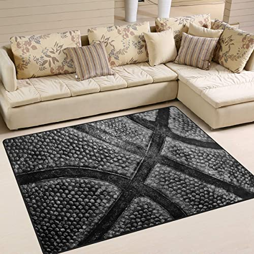 ALAZA Grunge Black Basketball Court Area Rug Rug