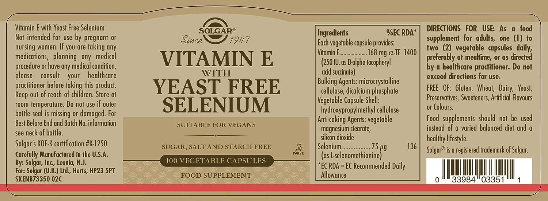 Solgar Vitamina E con Selenio (sin levadura) Cápsulas vegetales - Envase de 100: Amazon.es: Salud y cuidado personal