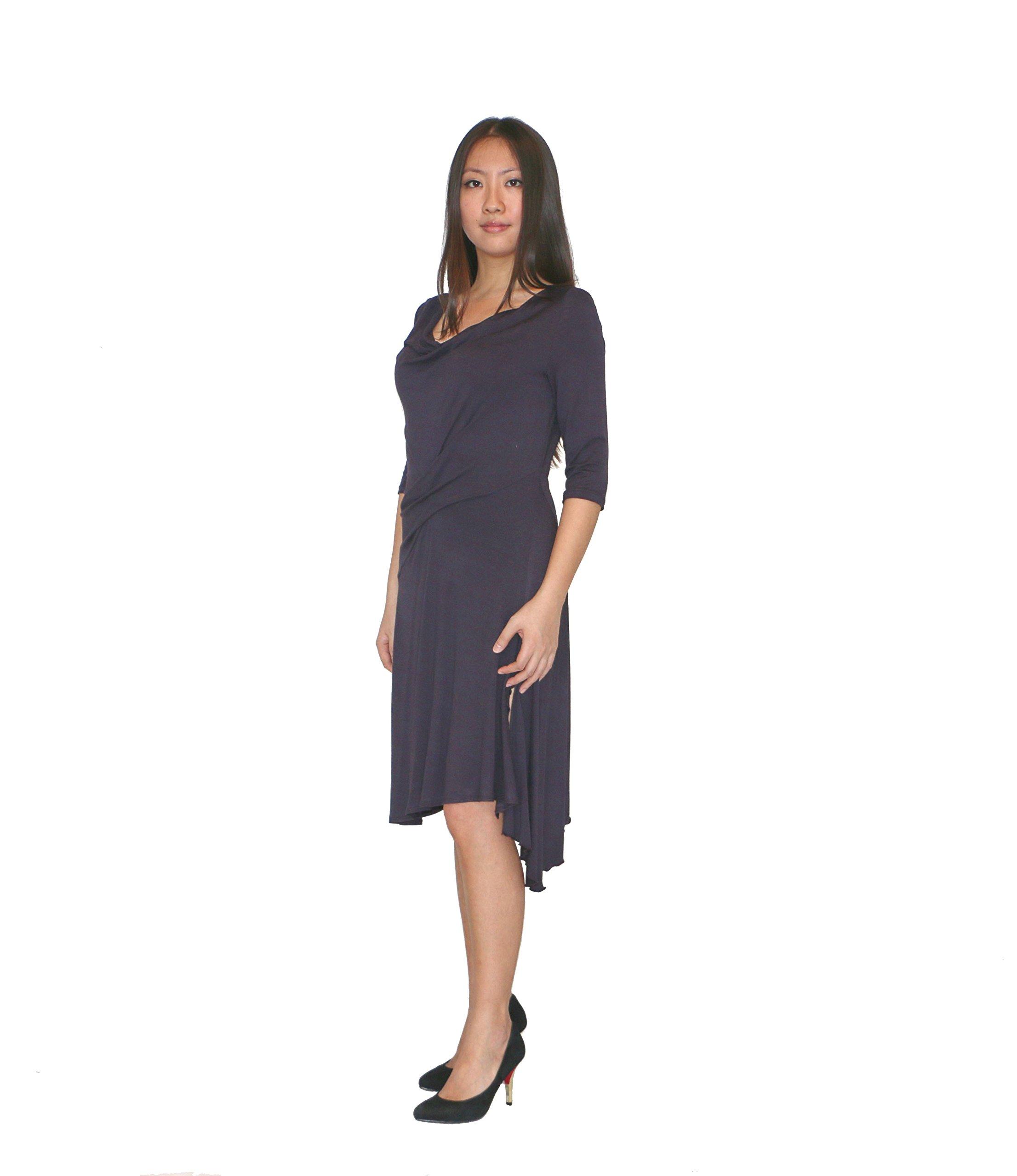 H.Y. Style Womens Asymmetric Cowl Neck 3/4 Sleeve Dress Medium Dark Purple by HY STYLE