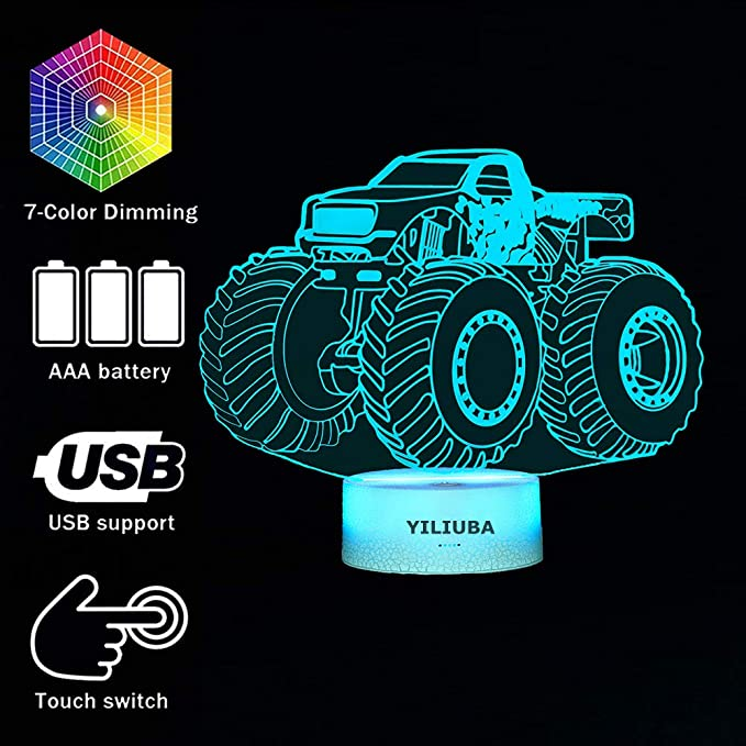 Smart Dynamic Tractor Car 3D Touch Illusion Table Lamp Supports USB Charging