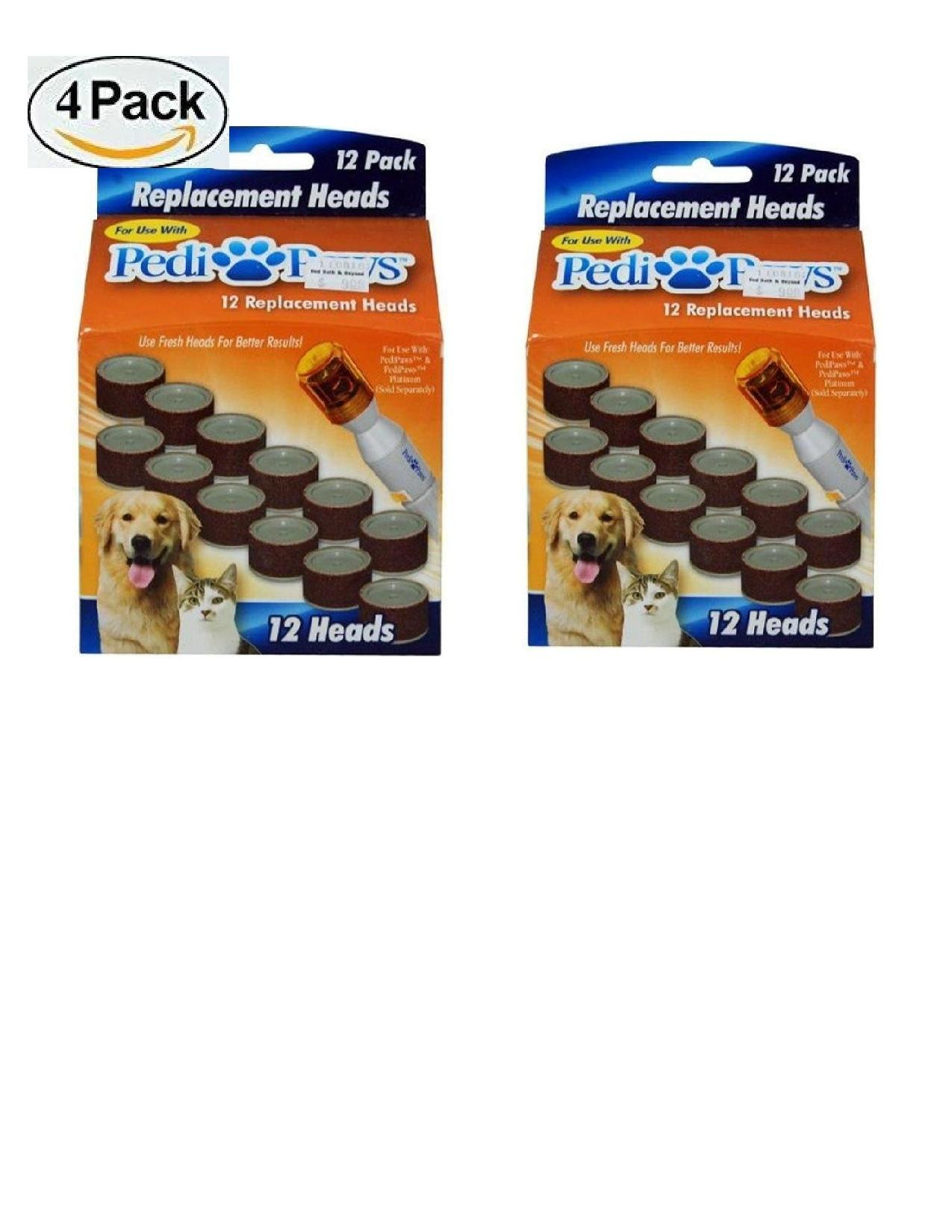 (48 Refills ) PediPaws Replacement Filing Heads 12 pack (Set of 4)