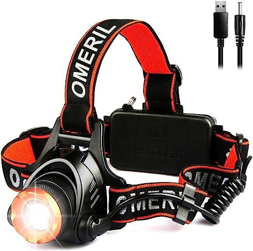 OMERIL Linterna Frontal LED, Linterna Cabeza USB Recargable 4000mAh, 90° Ajustable y Zoomable Luz Frontal con 3 Modos de Luz, Frontal LED para ...