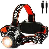 OMERIL Linterna Frontal LED, Linterna Cabeza USB Recargable 4000mAh, 90° Ajustable y Zoomable Luz Frontal con 3 Modos de…