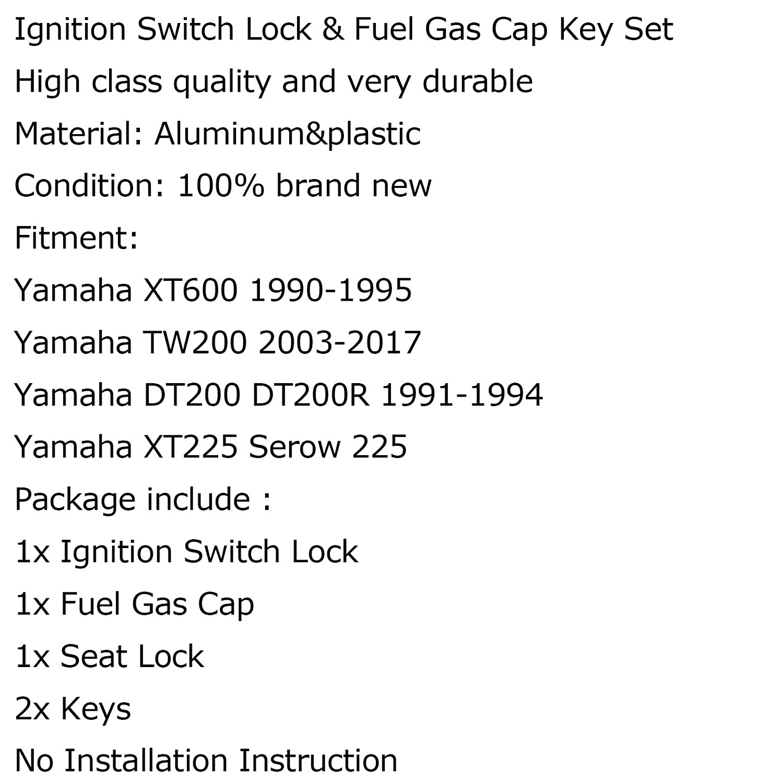 Artudatech Ignition Switch Seat Gas Cap Cover Lock Key Set For Ya-ma-ha XT600 TW200 XT225
