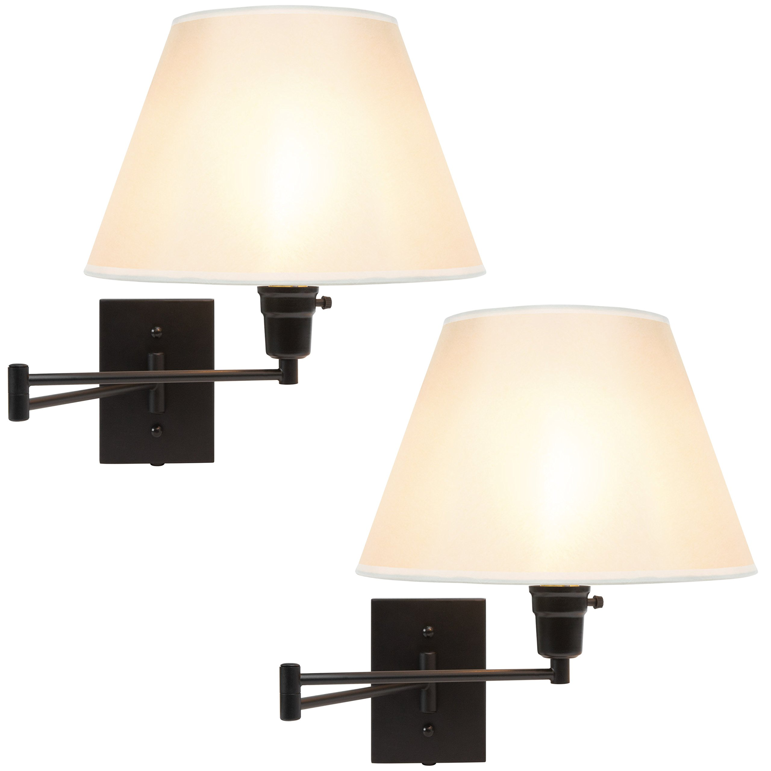 Best Choice Products Set of 2 Swing Arm Wall Lamp Sconces for Living Room, Bedroom, Entryway w/Beige Shade, Cord Cover - Matte Black