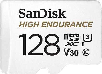 Sandisk High Endurance Carte Microsdhc 128go Adaptateur Sd Pour Le Monitoring Vidéo Domestique Ou Sur Dashcam Jusqu à 100mo S En Lecture Et 40mo S En écriture Class 10 U3 V30 Amazon Fr