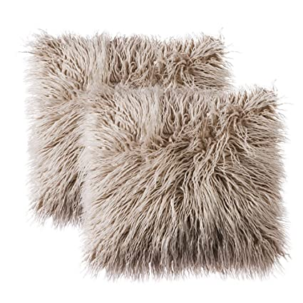 Faux Fur Decorative Pillow.Ojia Pack Of 2 Decorative Faux Fur Throw Pillow Cover Soft Plush Mongolian Cushion Case 18 X 18 Inch Light Coffee