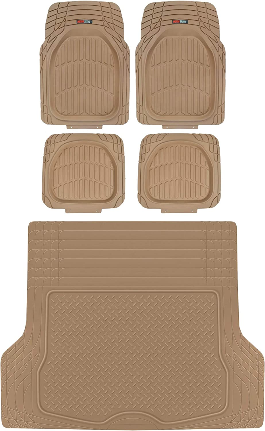 Motor Trend MT-921 FlexTough Tortoise Rubber Car Floor Mats, Universal Front & Rear Combo Set with Trunk Cargo Mat Liner for Car Sedan SUV Van, Heavy Duty All Weather Trim to Fit