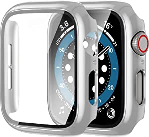 [2 Pack] Anwaut Case with Screen Protector for Apple Watch Series 6/SE/5/4 40mm,Full Defense Coverage with Tempered Glass Cover Accessories for iWatch 40mm Women Men Sliver