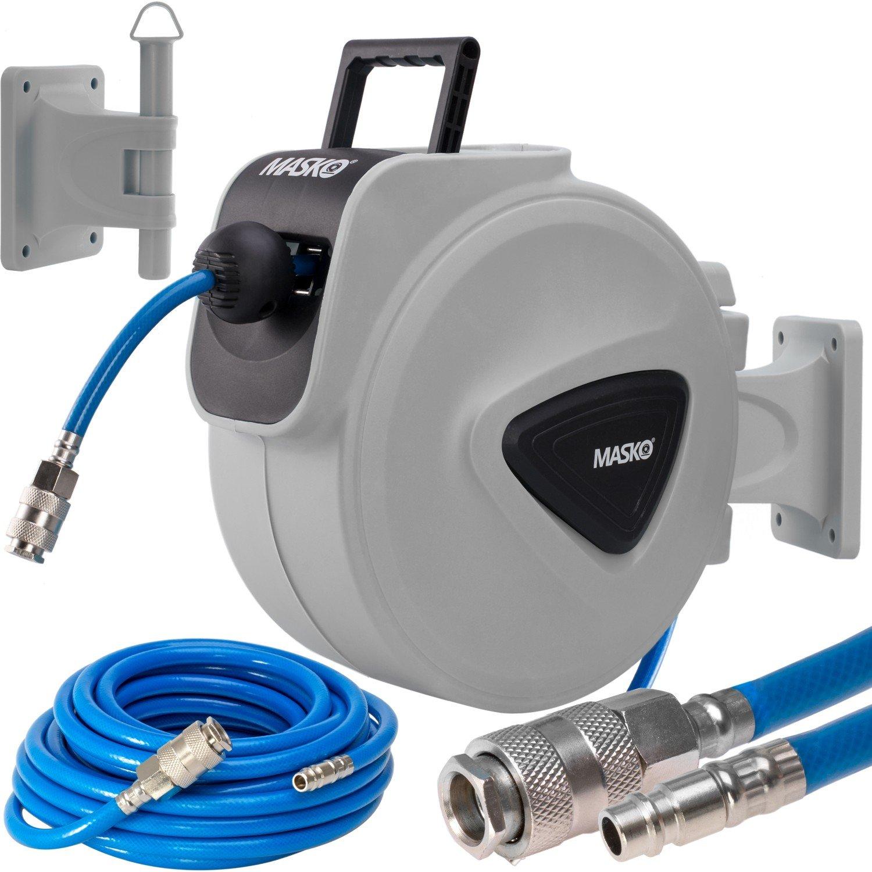 MASKO®  25m Druckluftschlauch Aufroller automatisch 1/4' Anschluss - Schlauchtrommel Wandschlauchhalter Schlauchaufroller Druckluftschlauch-Aufroller Druckluftschlauch-trommel / Farbe: Blau, Grö ß e: 25 Meter