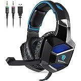 Gaming Headset, Cuffie gaming EasySMX K5 Cuffie Stereo a raggi stereo e connettore Audio da 3.5 mm Cablato Auricolari con Gambo e Microfono Nascosto Microprocessore a LED per PC / PS4 (Nero-Blu)