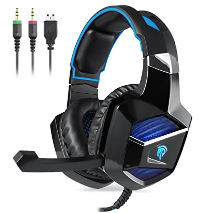 EasySMX Cascos Gaming, K5 Gaming Headset con Drivers Neodimio 40mm, Auriculares PS4 con 3