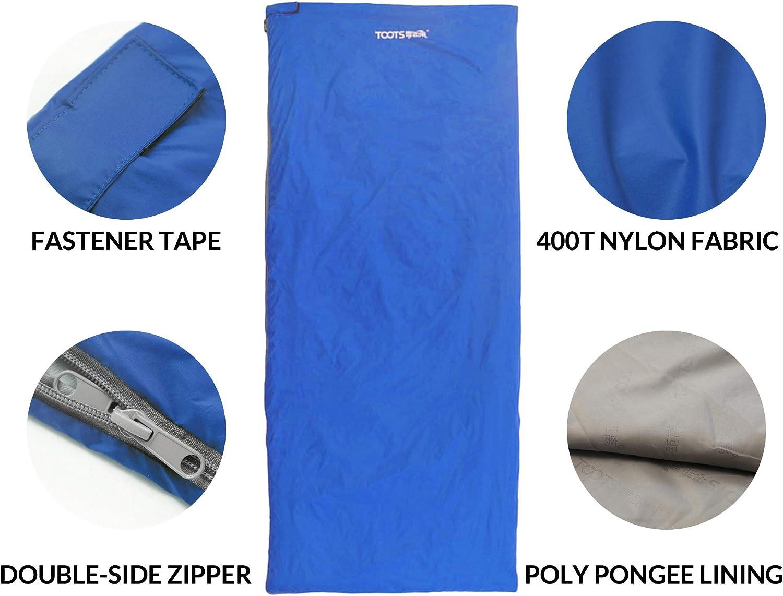 Impermeable y Ultraligero para 8-15 Grados Primavera Toots Compacto Saco de Dormir Verano y Oto/ño Camping Al Aire Libre
